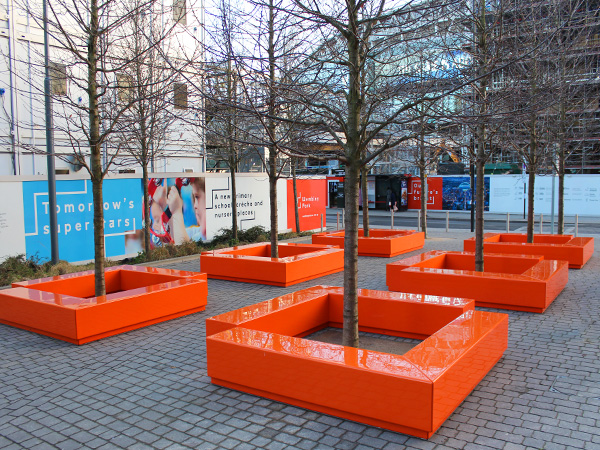 Modular seating, planters and water features.